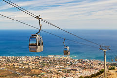 Funicular above Costa del Sol royalty free stock image