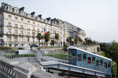 A funicular against boulevard of Pyrenees in Pau Royalty Free Stock Photo