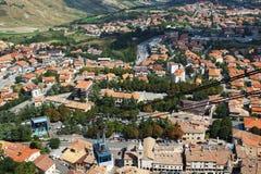 Funicular against the panorama of San Marino, Europe Stock Photos