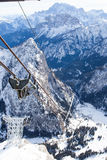 Funicular al top del glaciar de Marmolada Foto de archivo