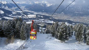 Funicular on The Alps. Funicular leading to the top of the Alps in Innsbruck, Austria Royalty Free Stock Photos