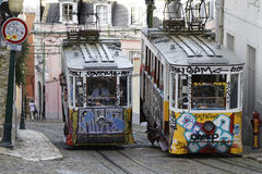 Funicular of Ascensor da Gloria Stock Image