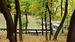 Funicular in the autumn park