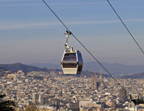 The funicular: Barcelona modern cable railway Stock Photo