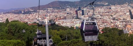 Funicular against Barcelona city and cable car Aerial view Royalty Free Stock Photos