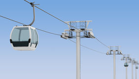 Funicular and cable car on blue sky background. 3d rendering Royalty Free Stock Images