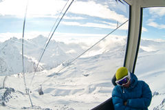 Funicular in Caucasus mountains. Winter Royalty Free Stock Image