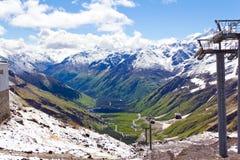 Funicular in Caucasus mountains Stock Photo