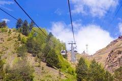 Funicular in Caucasus mountains Royalty Free Stock Photos