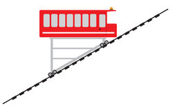 Funicular or cliff railway. Vector Illustration Royalty Free Stock Images