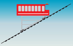 Funicular or cliff railway. Vector Illustration Stock Images