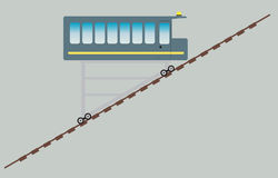 Funicular or cliff railway. Vector Illustration Stock Photography