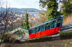 Funicular climbing to Schlossberg and Graz city panoramic view Royalty Free Stock Photo
