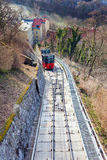 Funicular climbing to Schlossberg and Graz city panoramic view Stock Images