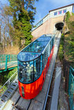 Funicular climbing to Schlossberg and Graz city panoramic view Royalty Free Stock Photography