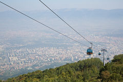 The funicular climbs to the Macedonian mountain Vodno Stock Photo