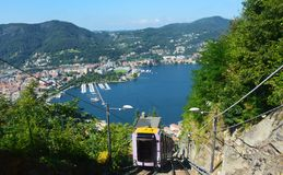 Funicular Como Lake, Lombardy Italy summer 2016 Royalty Free Stock Photos