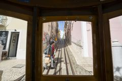 Funicular da Bica w Lisbon Fotografia Stock