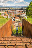 Funicular descending with panoramic view of a city. Funicular descending with a panoramic view of a city, Ljubljana, Slovenia Royalty Free Stock Photo