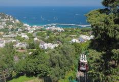 Funicular droga od portowego Granda żołnierza piechoty morskiej capri Italy Zdjęcia Royalty Free