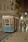 Funicular (Elevador) in Lisbon in night stock image