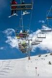 Funicular en la montaña, estación de esquí Fotografía de archivo libre de regalías