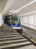 Funicular Floibanen arrived at its lowermost point Royalty Free Stock Photo