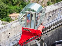 BARD, ITALY - AUGUST 6, 2017: Funicular at Fort of Bard, Aosta Valley, Italy Royalty Free Stock Photos