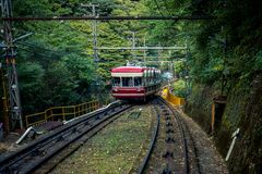 Koya Funicular going up a hill royalty free stock photo