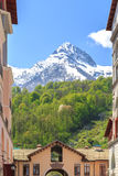 Funicular, green forests and snow-capped mountains in spring royalty free stock photos