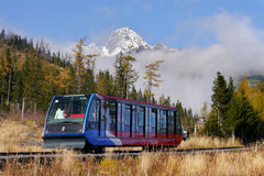 Funicular. In the High Tatras mountains. October 2014 Slovakia Stock Image
