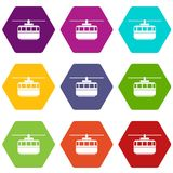 Funicular icon set color hexahedron. Funicular icon set many color hexahedron isolated on white vector illustration Royalty Free Stock Photo