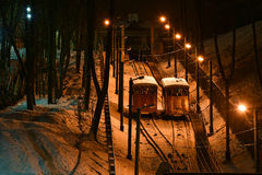 Funicular in Kaunas, Lithuania, night view Stock Photos