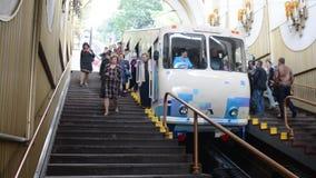 The funicular, Kiev, Ukraine. Funicular, kiev, ukraine, city transportation elevator hill lift railway track transport stock video footage