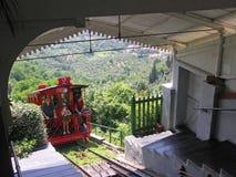 Funicular kolei bieg między Montecatini Terme i alt Obraz Royalty Free