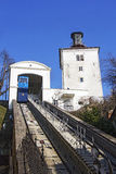 Funicular and Kula Lotrscak in Zagreb Royalty Free Stock Images