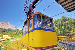 The funicular lifts people to AI-Petri mountain. Stock Photos