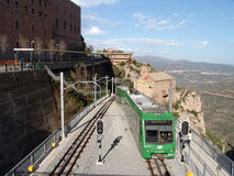 Funicular at Monserrat Mountain in Spain. Funicular railway at Monserrat in Catalonia Spain stock photo