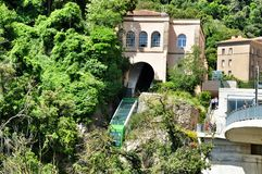 Funicular on mountain Montserrat Royalty Free Stock Images