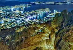 Funicular in the night city. Floibanen, Bergen, No Royalty Free Stock Photo