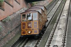 Funicular. Old cable railway in the centre of Budapest, hungary Royalty Free Stock Photo
