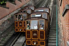 Funicular. Old cable railway in the centre of Budapest, hungary Royalty Free Stock Image