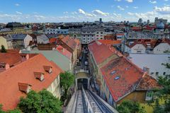 Funicular in Old Town Zagreb, Croatia Stock Photography