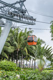 Funicular. Orange cabin cable car, sea and palm trees Stock Photos