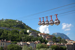 Funicular over Grenoble, France Stock Images