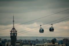 Funicular over the Tbilisi city at sunset. Georgia Stock Photos