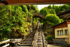 Funicular rail near Reichenbach royalty free stock photography