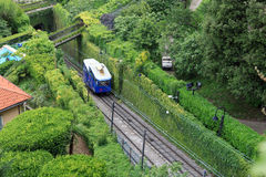 Funicular railway cable car to Citta Alta in Bergamo Royalty Free Stock Images