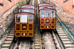 Funicular railway on the Castle Hill Stock Photography