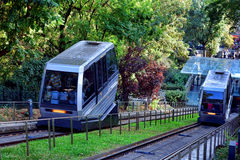 Funicular Railway Climbing Paris Butte Montmartre Royalty Free Stock Photos